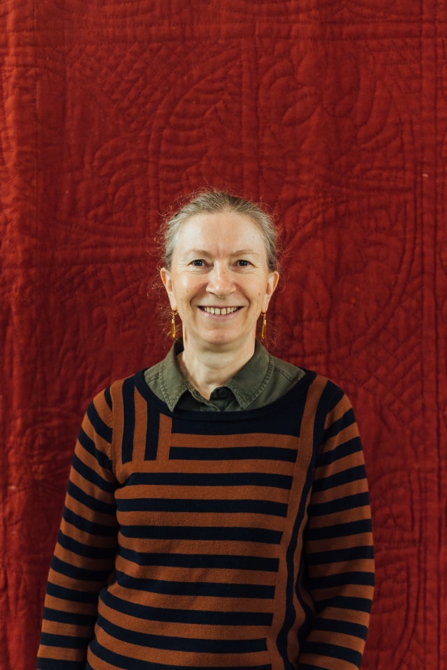 Carolyn Gibbs - with antique red flannel Welsh wholecloth